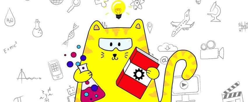 Illustration einer Katze, die an österreichische Erfindungen denkt