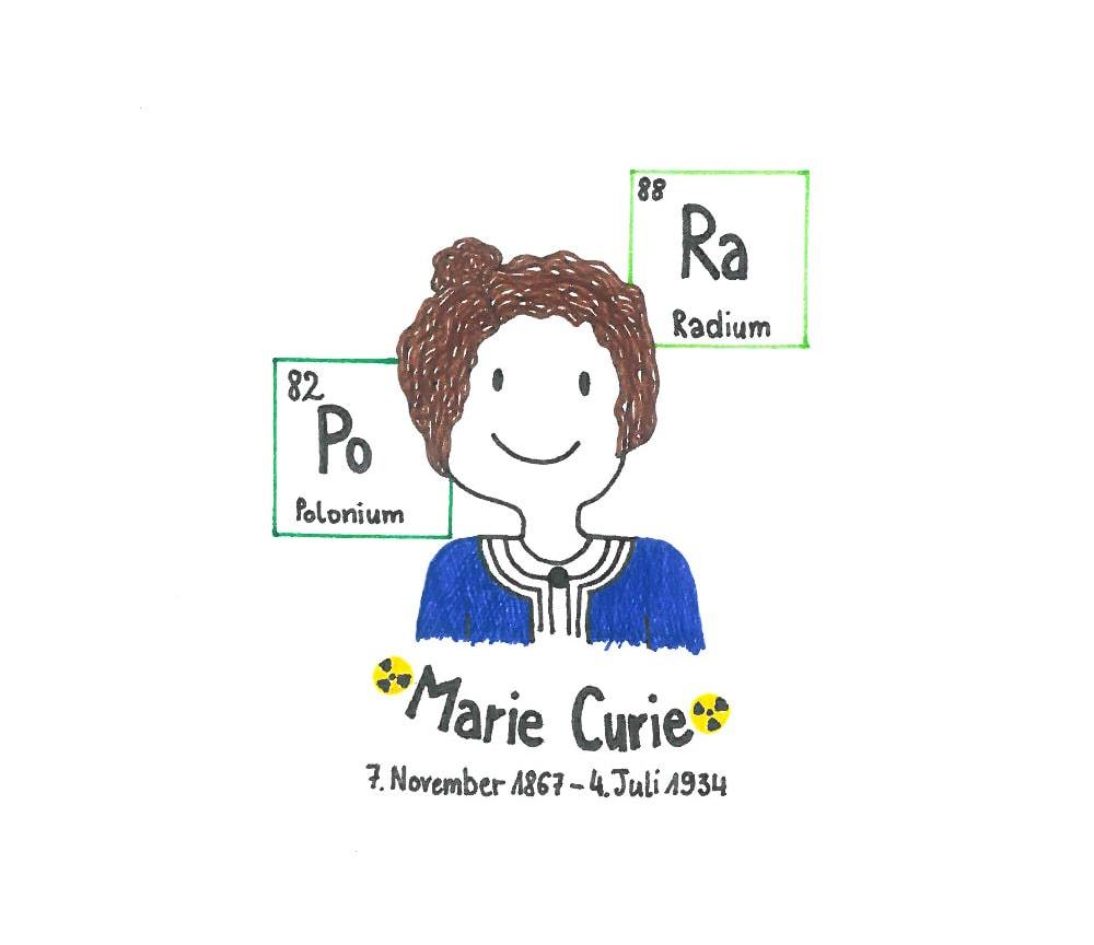Illustration von Marie Curie
