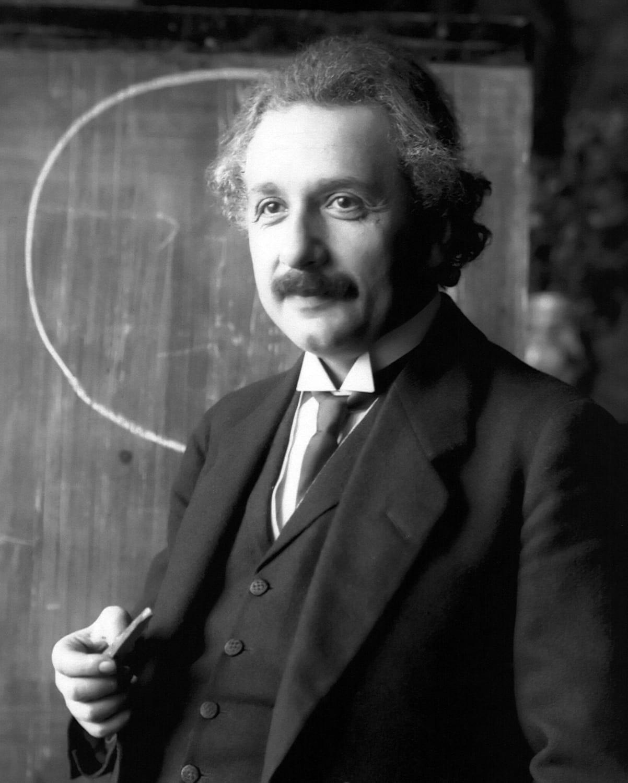 Porträt von Albert Einstein bei einem Vortrag in Wien