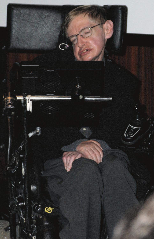 Fotografie von Stephen Hawking bei einer Pressekonferenz in Frankreich