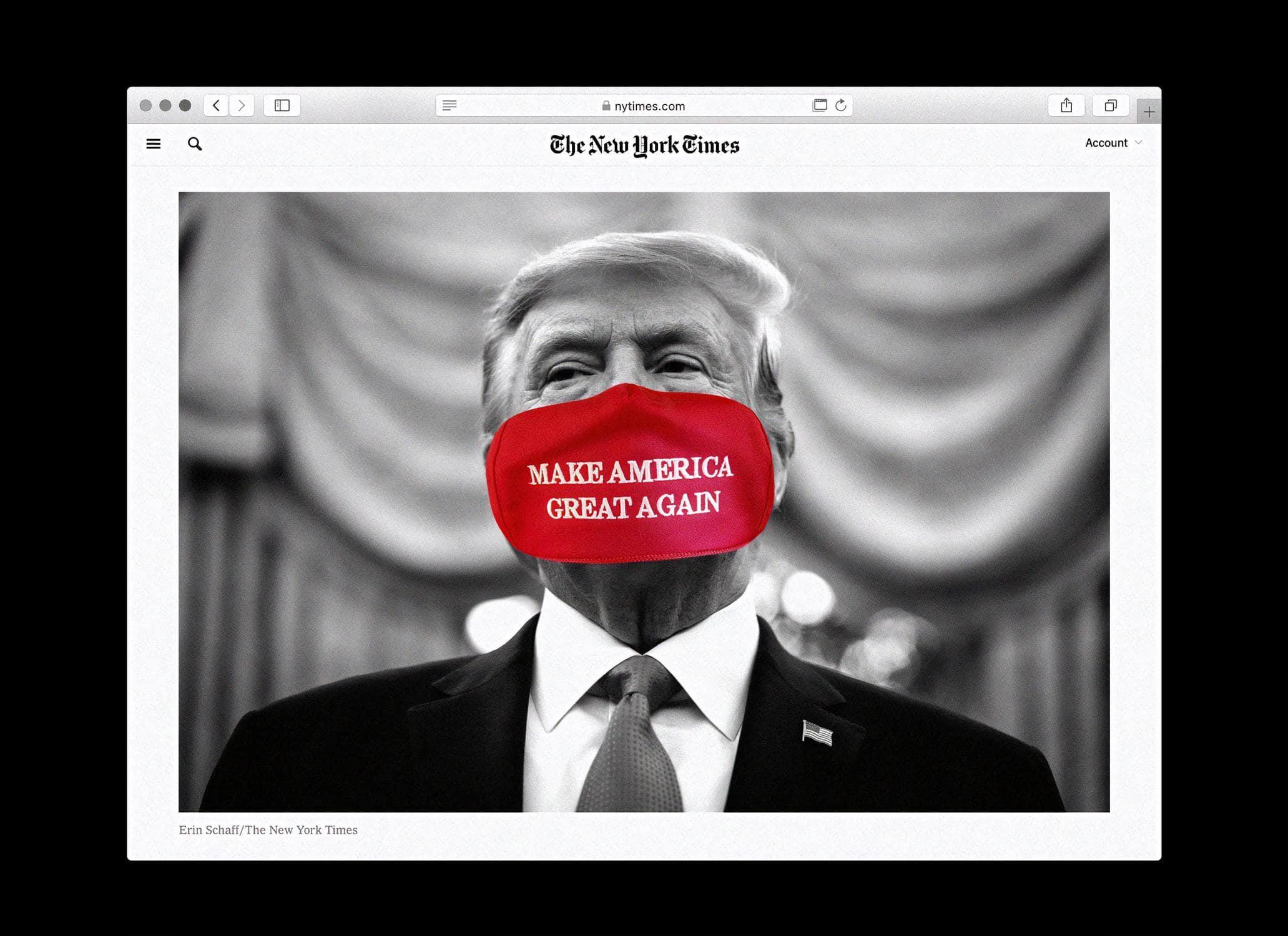 Donald Trump repräsentativ für Fake News, abgebildet in den New York Times