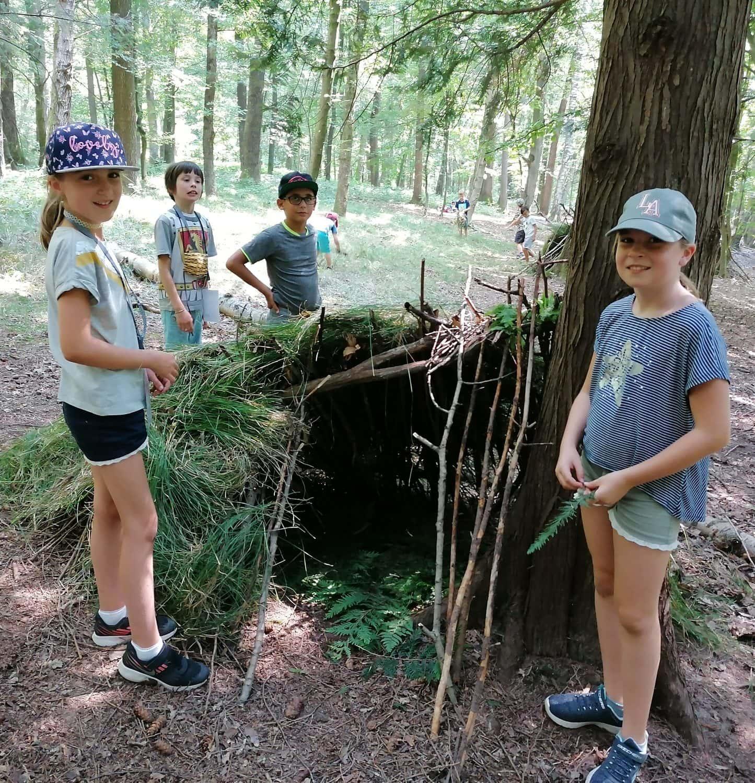 Kinder bei den JKU Science Holidays bei einer Exkursion im Wald
